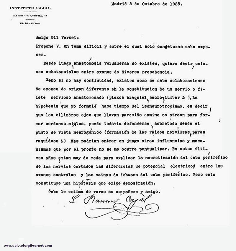 Carta de Don Santiago Ramón y Cajal dirigida a Salvador Gil Vernet escrita el 5 de octubre de 1925 en respuesta a una carta de Salvador Gil Vernet sobre cuestiones de neuroanatomía.
