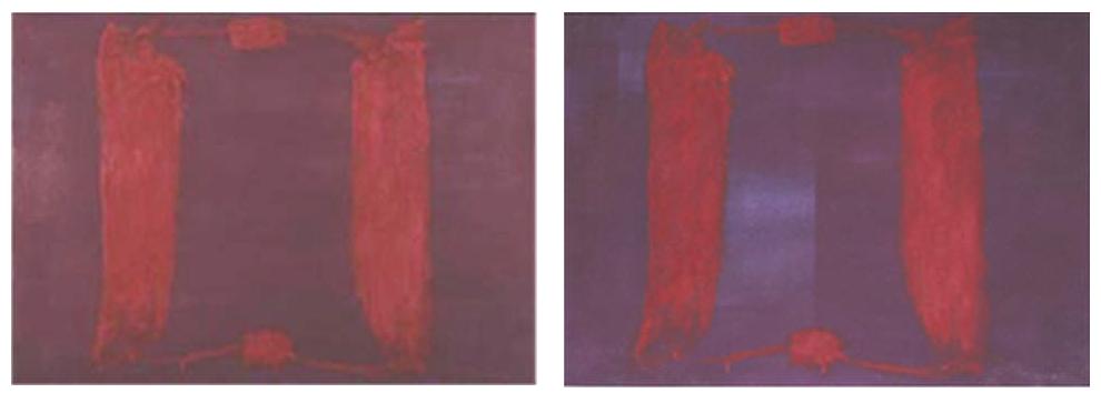 Rothko rojo-azul. Se muestran dos imágenes de la misma obra de Rothko en las que se aprecia la degradación que ha sufrido la pintura y como ha ido volviéndose más azul.