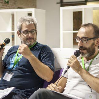 Màrius Belles y Daniel Arbós en las Jornadas de Podcasting de Barcelona