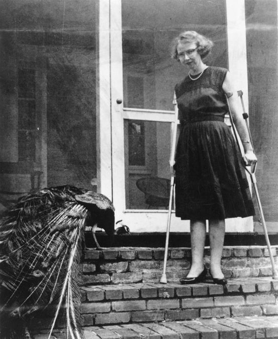 Flannery O'Connor con uno de sus muchos pavos reales Fuente: http://www.theatlantic.com/health/archive/2012/11/portraits-of-writers-with-pets-the-humanizing-animal-connection/265681/