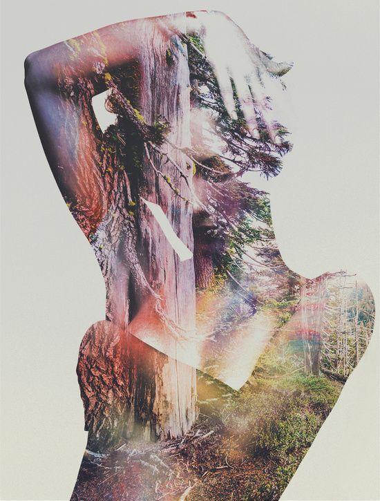 Andreas Lie «Wilderness Heart» Es una pintura en la que puede verse un bosque a través de la piel de una mujer desnuda