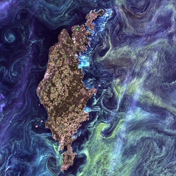 Fotografía del programa Landsat de la NASA Isla de Gotland