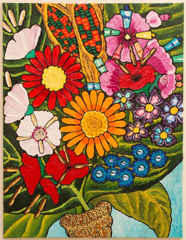 Teresa Capell «Molecular Pharming» Pintura de la entrevistada en la que se intenta mostrar la ingeniería genética. Por ejemplo, las mazorcas que aparecen tienen dos colores: verde y rojo.