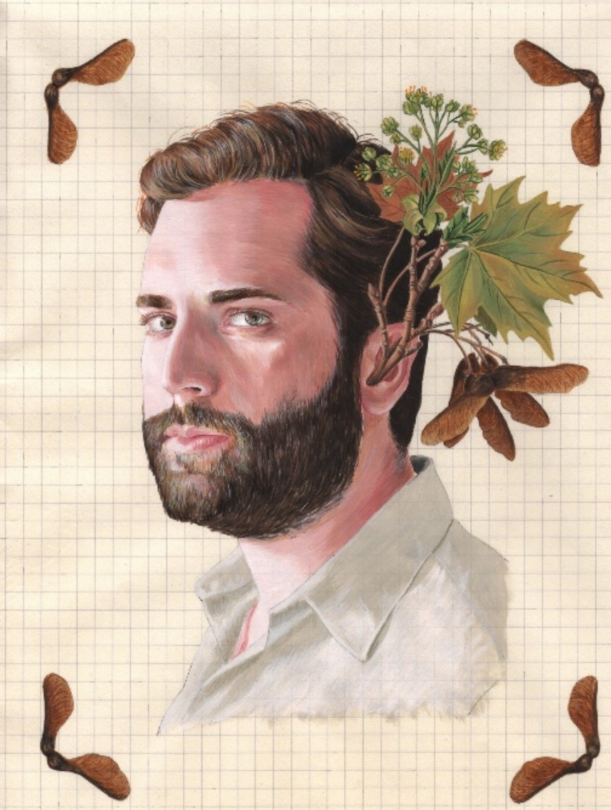 Tamara Feijoo «NATURALEZAS INVASORAS (ARCE)» Gouache sobre papel 25,2 x 34 cm 2011 Se ve la cara de un hombre del que le salen ramas con hojas de las orejas.