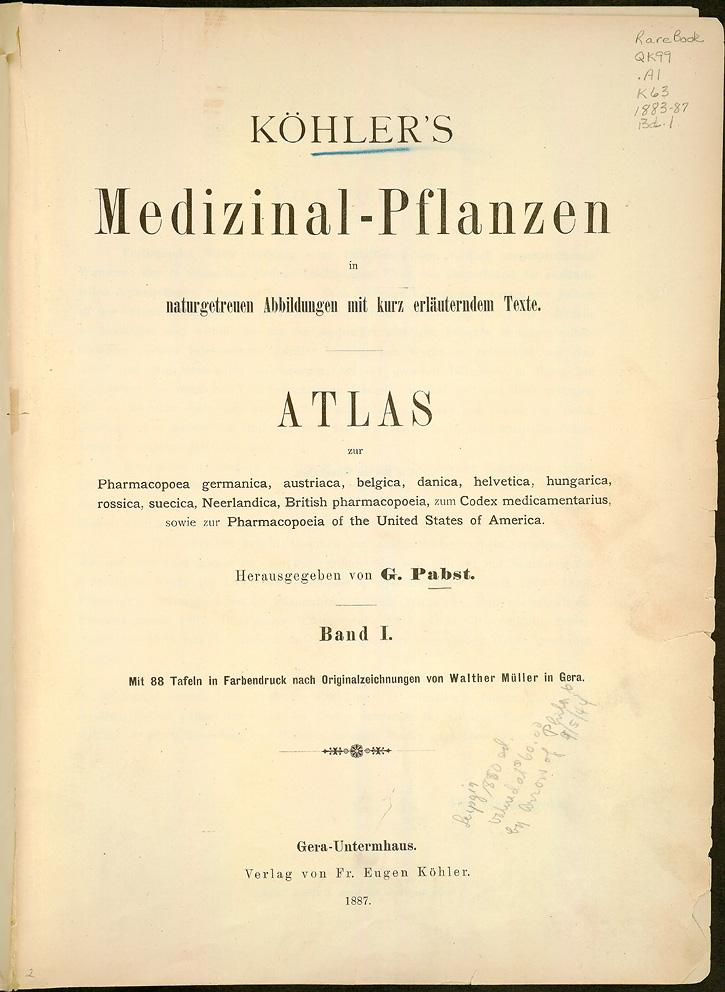 Primera página del Medizinal Pflanzen