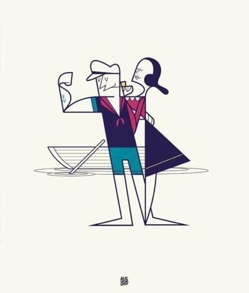 Ale Giorgini Dibujo de Popeye y Olivia