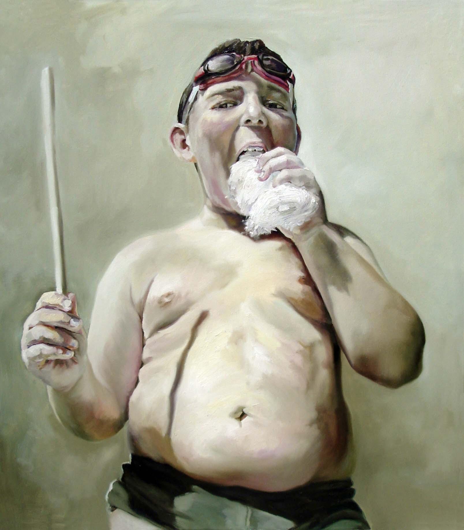 Anca Danila Pintura de un niño muy grueso comiendo algodón de azúcar