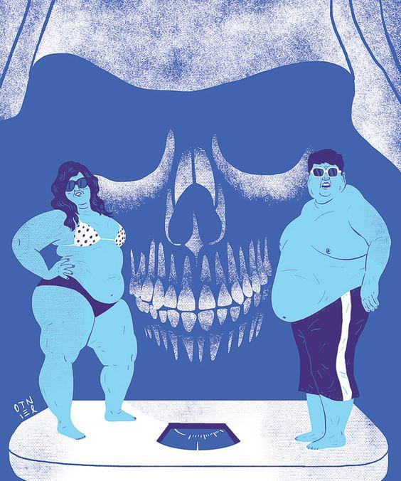 Patricio Otniel «Obesidad» Aparece el dibujo de una pareja obesa en ropa interior sobre una báscula y por detrás la sombra de una calavera con una capucha.
