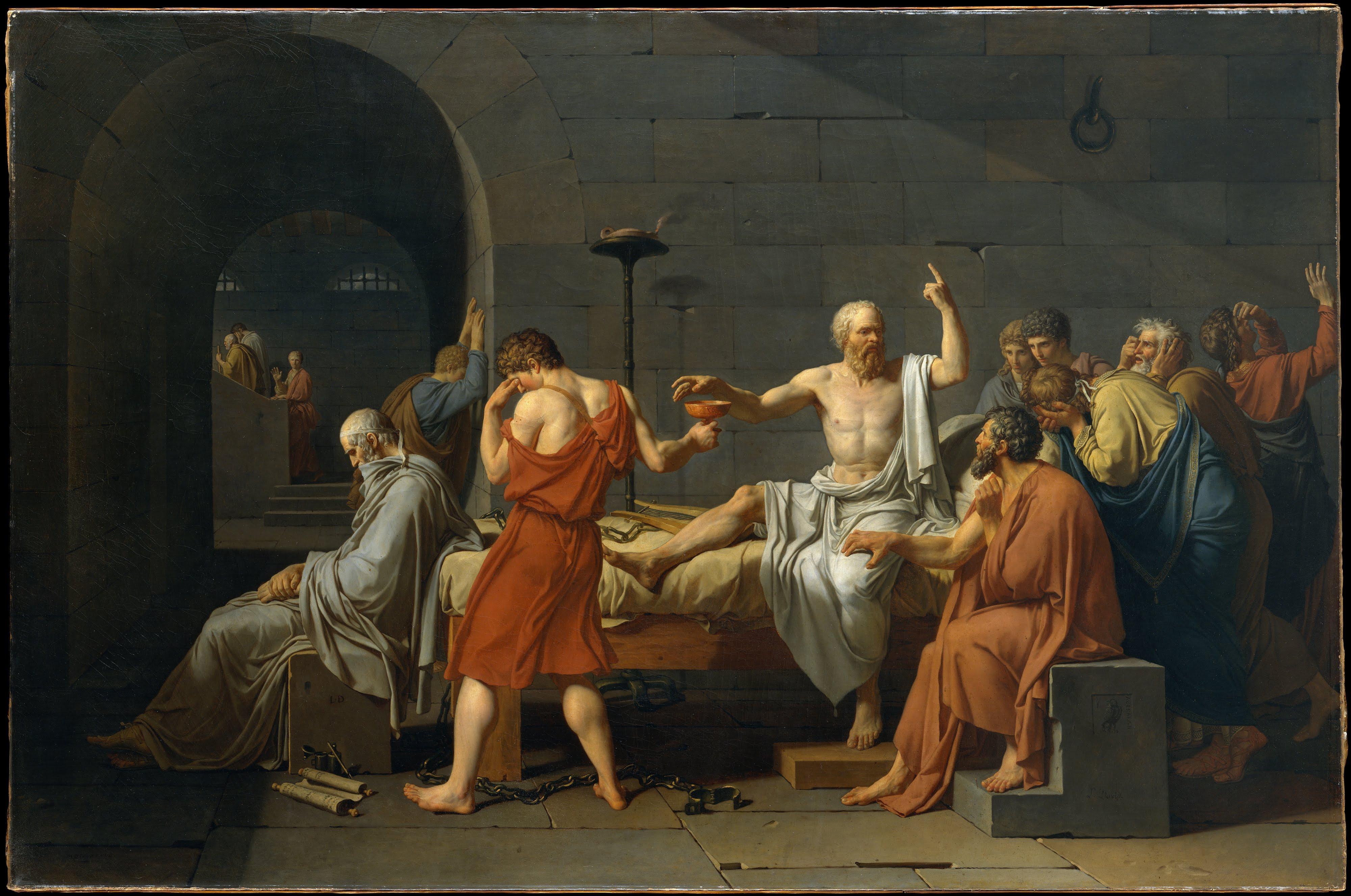 Jaques-Louis David «La muerte de Sócrates» 1787 Museo Metropolitano de Arte de Nueva York (EE.UU) Fuente: Wikipedia.