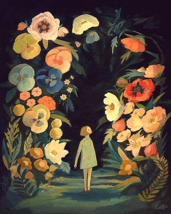Emily Winfield Martin. Pintura de esta autora en la que aparece una niña rodeada de flores