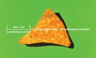 """Imagen de Grant Cornett. Aparece un """"dorito"""" sobre un fondo verde en el que hay sobreimpresionada la siguiente formula en inglés: sal más grasa al cuadrado entre crujido satisfactorio por sentimiento placentero en la boca es igual a comida diseñada para crear adicción"""