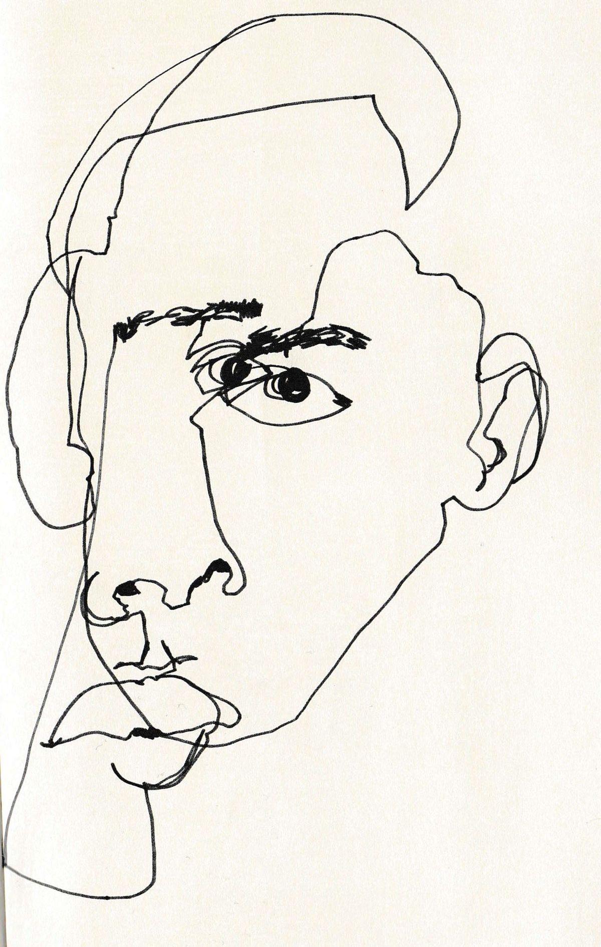 February James «Blind Contour Line Drawing» Es la imagen de un rostro abstracto que pretende reforzar la fealdad de Sócrates
