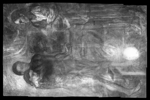 Al girar la radiografía de «La Vie» se puede apreciar una lámpara sobre una mesilla de noche con un cajón abierto en la esquina inferior derecha que delata la composición anterior. Fuente: The Cleveland Museum of Art
