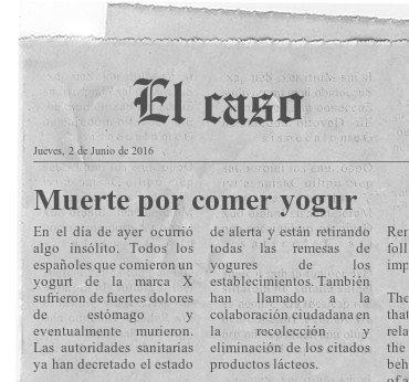 """Fotografía del diario """"El Caso"""" en el que aparece el titular """"Muerte por comer yogur"""""""