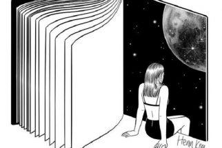 Henn Kim «Reading is Dreaming with Your Eyes Open» Aparece el dibujo de un libro abierto y una chica sentada delante de la última página en la que se ve el universo