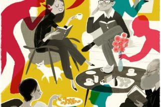Leo Espinosa. Dibujo de personas en un café leyendo libros.