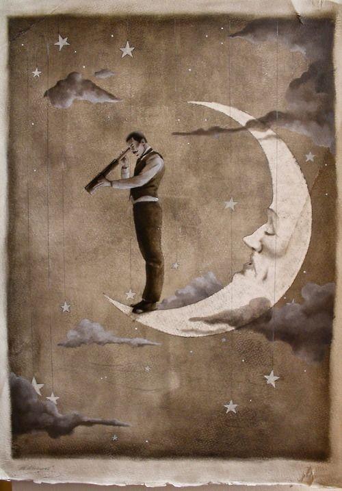 Foto retro de un hombre vestido encima de la luna mirando con un telescopio hacia la Tierra