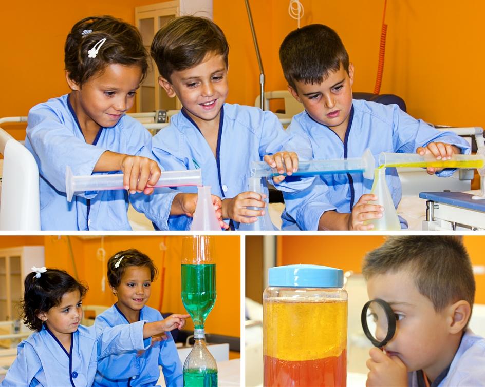 Collage con varias fotos de los experimentos realizados por los pequeños