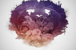 Un dibujo artístico de un útero lleno de animales