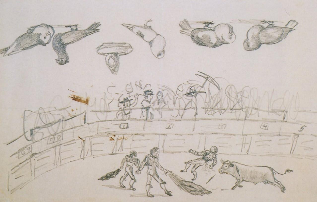 Pablo Picasso «Corrida de toros y palomas» 1890 Museo Picasso, Barcelona Fuente: http://www.pablo-ruiz-picasso.net/work-3936.php Con 8 años, Pablo Ruíz domina la perspectiva y dibuja de una forma madura. Muestra palomas de perfil, de frente o incluso en tres cuartos de perfil. En la corrida de toros hay un solo punto de vista, las manos y el cabello de los toreros están dibujados en conjunto y todo con un extraordinario detalle.