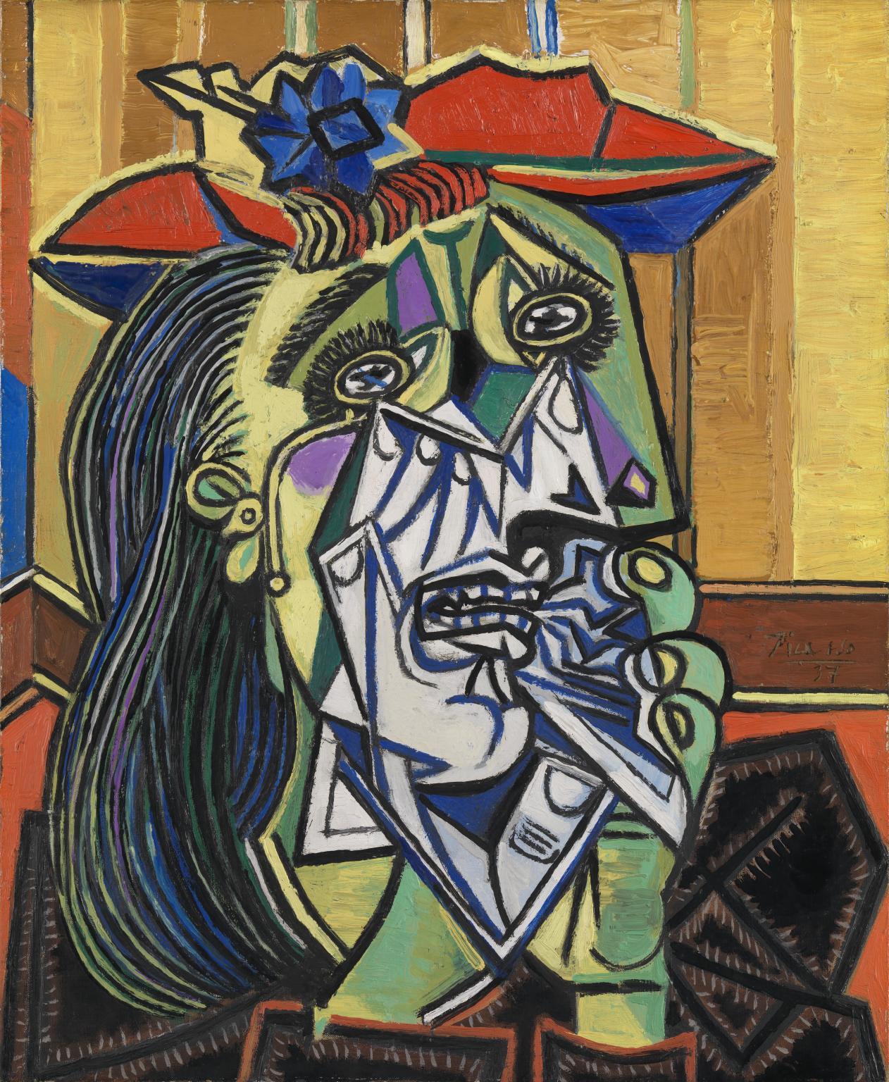"""Pablo Picasso «Mujer llorando» 1937 Tate Gallery, Londres. Fuente: http://www.tate.org.uk/art/artworks/picasso-weeping-woman-t05010 Como sucede en el dibujo infantil, aquí todo está en un mismo plano en el que se muestran a la vez diferentes perspectivas, eligiendo siempre la más reconocible. Los cabellos, las cejas y las pestañas están dibujados uno a uno. El pañuelo y las manos que lo sostienen son """"transparentes"""", nos dejan ver lo que hay debajo. Las formas, bien delimitadas, tienen un borde marcado y los colores no son """"de verdad"""" sino que se usan como elemento emocional."""
