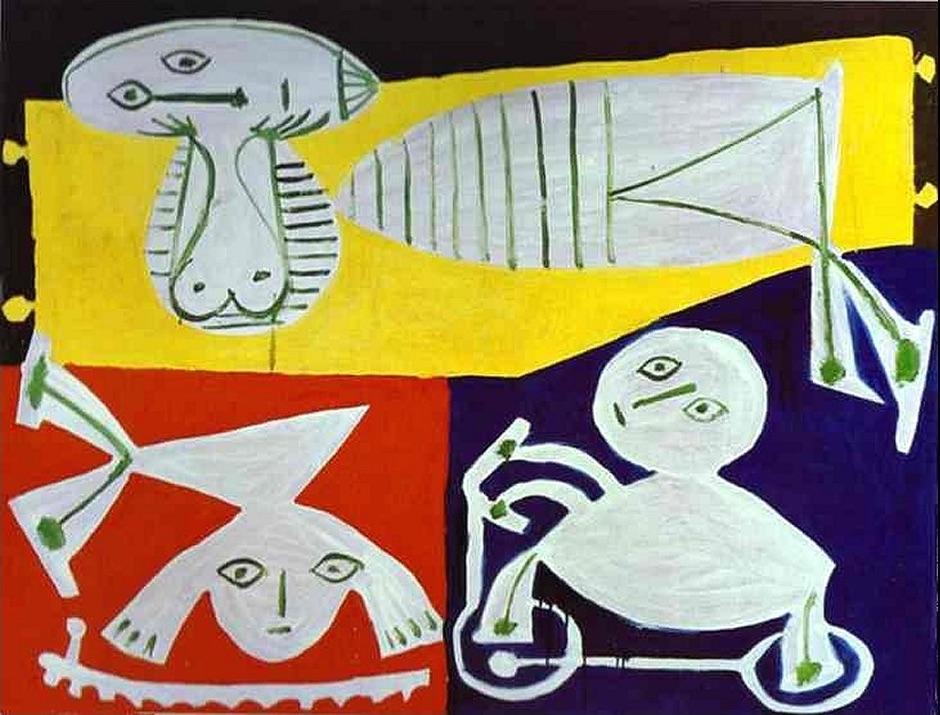 Pablo Picasso «Françoise Gilot con Claude y Paloma» 1951 Fuente: http://www.settemuse.it/pittori_scultori_europei/picasso/1951_pablo_picasso_854_francoise_gilot_con_claude_e_paloma.jpg La esquematización, los planos tangenciales, el uso de una misma forma para representar distintos objetos, la ausencia de perspectiva natural y la presentación de todos los objetos en su perfil más reconocible, son características inequívocamente infantiles.