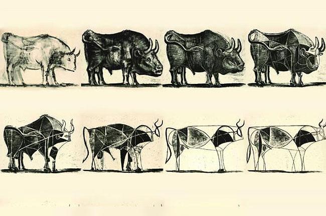 Pablo Picasso «El toro» Serie de litografías pintadas entre diciembre 1945 y enero 1946 Fuente: http://www.descubrirelarte.es/2014/04/16/picasso-fascinado-por-la-tauromaquia.html En esta serie Picasso representa una figura de toro (quizá el animal que más veces pintó y con el que él mismo se sentía identificado) que va transformándose desde un dibujo más naturalista hasta simplificarlo en una figura que evoca el arte primitivo. Un resumen de la evolución de su propio arte.