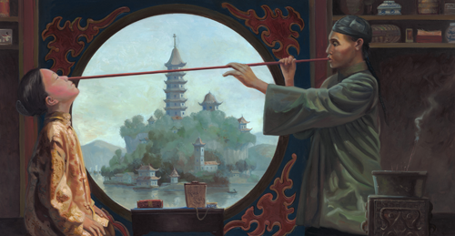 La variolización, pulverizar costras desecadas e introducirlas mediante un tubo de bambú por los orificios nasales, ya se practicaba en China en el siglo XI. Fuente: http://www.detectivesdelahistoria.es/wp-content/uploads/2015/03/chinese_variolization.png