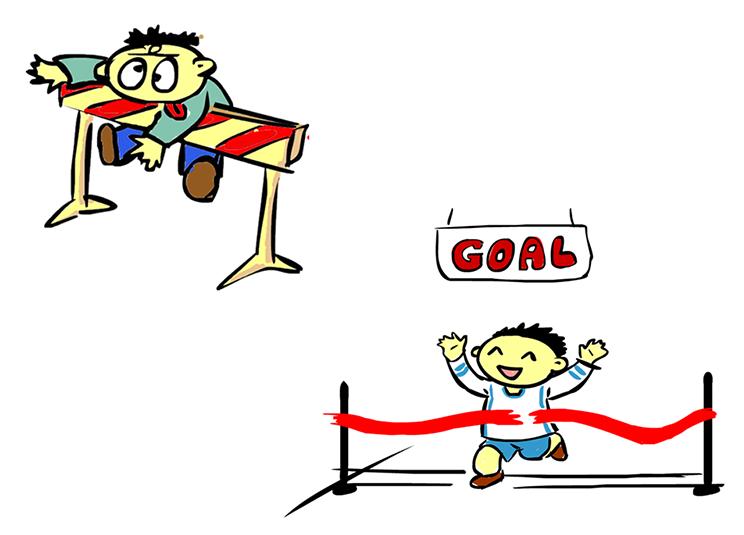 Se ven dos dibujos de un corredor. En el primero de ellos, choca con una valla, encuentra un obstáculo que no puede saltar. En el segundo cruza triunfal la meta.