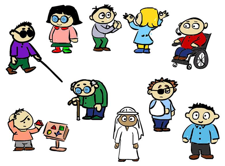 """Aparecen un conjunto de dibujos de diferentes tipos de personas que pueden tener dificultades de acceso, incluida, por supuesto, la persona """"estándar""""."""
